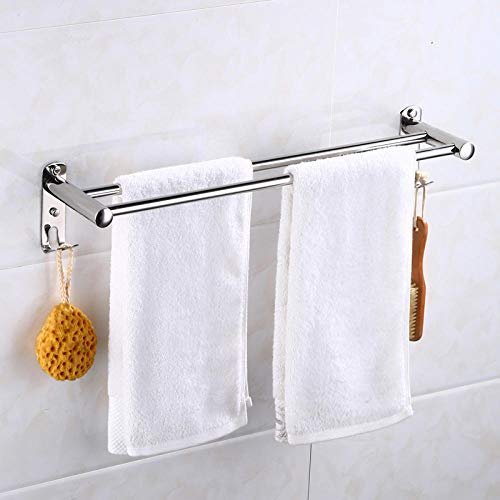 304 Baño de la toalla de la toalla de acero inoxidable Punch Toally Rack Bath Bath Toally Rack Bath Hardware Colgante-Polo doble