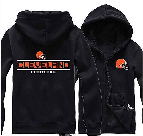 SHR-GCHAO Herren Pullover - NFL Cleveland Browns Football Team Uniform Zipkapuzenpullis, Langarm-Sweatshirt Rugby Kapu, Locker Und Bequem,XL