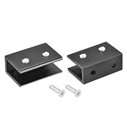 YeVhear - Soporte para tablet de cristal ajustable de aleación de aluminio rectangular para 8 - 10 mm de grosor 38,8 x 26 x 16 mm con tornillo 2 piezas