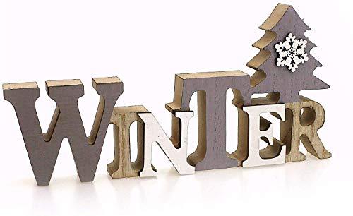TEMPELWELT Deko Holzaufsteller Schriftzug Winter 23 x 11 cm, Holz Grau Weiß Natur, Landhausstil Aufsteller Dekoschild Holzschild Winterdeko