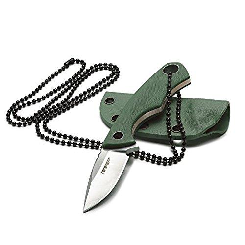 TONIFE Cuchillo de cuello fijo, hoja de 43 mm, total de 119 mm, con vaina de Kydex y cadena de bolas, color verde militar