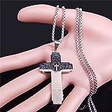 YUANBOO Christian Bible Cross Silver Silver Color Big Colgante Collar Mujer/Hombres Joyería Joyería de Acero Inoxidable (Metal Color : 60cm Box SR)