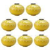 Tiradores de cerámica para muebles, cajones, armarios, armarios, armarios, armarios, pomos de puerta de repuesto, amarillo, 8 piezas