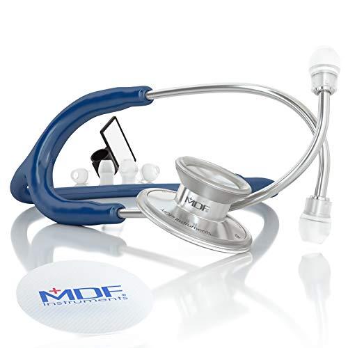 MDF Instruments MDF747XP-04 Acoustica Deluxe, Estetoscopio ligero de doble cabeza - Garantía-de-por-vida & Programa-piezas-gratuitas-de-por-vida (Azul Marino)