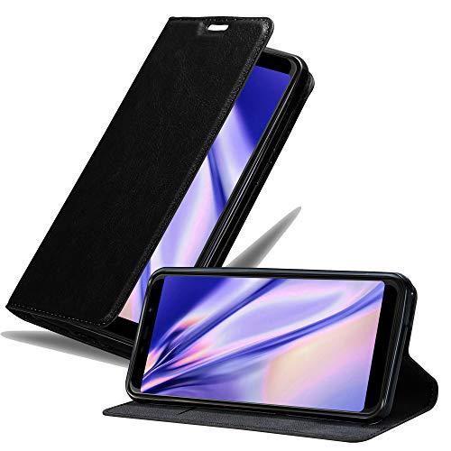 Cadorabo Hülle für WIKO View MAX in Nacht SCHWARZ - Handyhülle mit Magnetverschluss, Standfunktion & Kartenfach - Hülle Cover Schutzhülle Etui Tasche Book Klapp Style