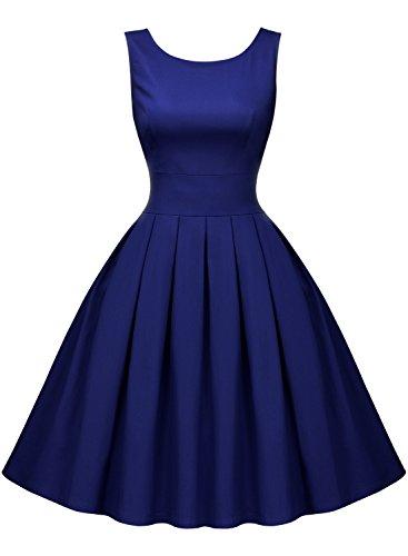 Miusol Rundhals Trägerkleid 1950er Retro Cocktailkleid Faltenrock Kleid Navy Blau - 5