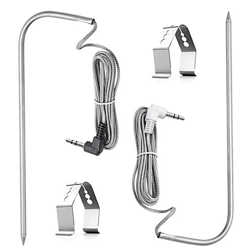 Replacement for Pit Boss Meat Probe Pellet Grills Smokers Parts Waterproof BBQ Temperature Probe 3.5 mm Plug Built by 304 Stainless Steel and 2 Grill Holder Fits All Digital Thermometers