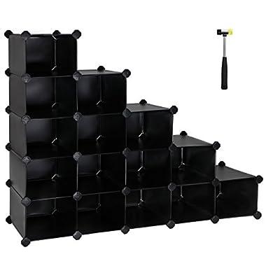 SONGMICS Shoe Rack,16-Cube Modular Cube Storage,Space Saving DIY Plastic Shoe Storage Organizer Units, Closet Cabinet, Ideal for Entryway Hallway Bathroom Living Room and Corridor Black ULPC44H