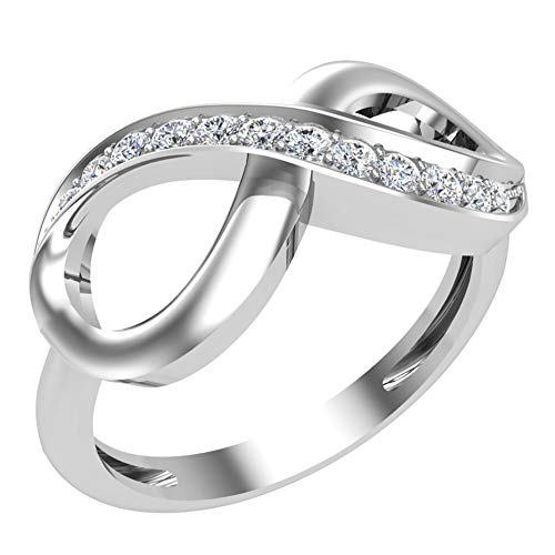 0.15 ct tw Infinity Diamond Ring 14K White Gold (Ring Size 7) (G, SI)