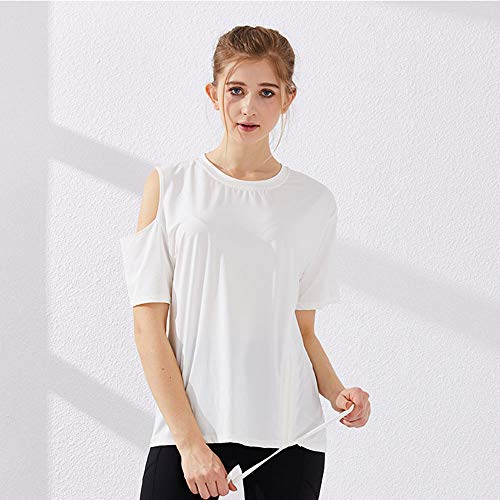 Losse En Sneldrogende Sporttops Off-The-Shoulder Dames Sexy Dunne Yogakleding Sneldrogend Fitnesst-Shirt Met Korte Mouwen,White,M