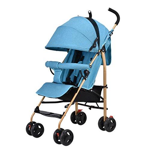 2 en 1 poussette pliante poussette de voyage bébé poussette jogger de voyage poussette pour enfant - couleurs différentes (Color : Blue)
