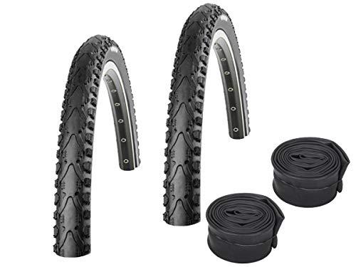 KENDA Set: 2 x K935 schwarz Fahrradreifen 47-355 / 18x1.75 + 2 SCHLÄUCHE Dunlopventil