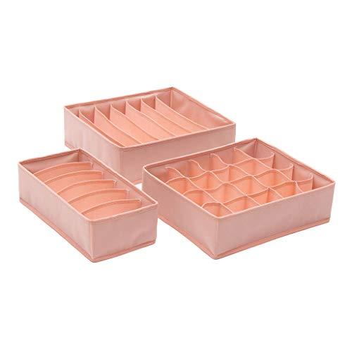 Youliy - Organizador de ropa interior plegable de 3 piezas, separador de cajones para braguas, calcetines, corbatas rosa