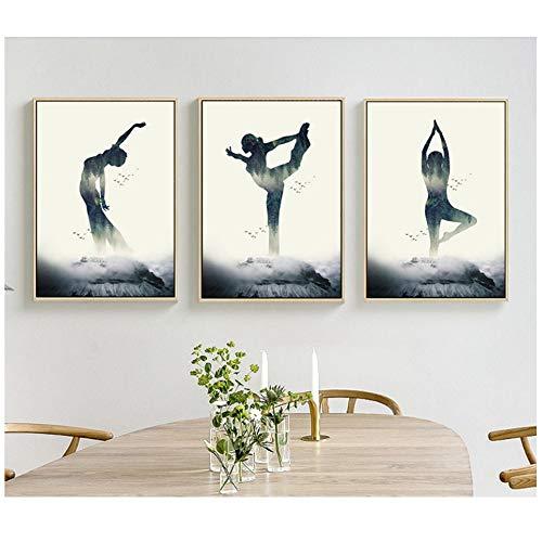 NIESHUIJING Imprimir en Lienzo Yoga Figura Silueta Lienzo Arte impresión Pintura Cartel Pared cuadros-50x70cm sin Marco