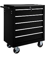 TecTake Carro de herramientas con 5 cajones | con cerradura | con ruedas - disponible en diferentes colores - (Negro | No. 402797)