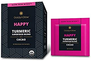 GoldynGlow Happy - Organic Turmeric Superfood Blend w/Cacao (20 Count) Helps Bliss, Boost Mood, and Support Joint Health. Golden Milk Elixir, Healthy Hot Chocolate. Non-GMO, Vegan, Gluten-Free