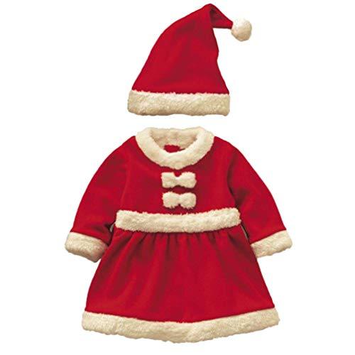 Toyvian Bambini Natale Vestito di Babbo Natale Bambini Vestiti di Natale Vestiti Giochi di Ruolo Costume da Babbo Natale e Cappello per Bambina (Rosso 140 cm)
