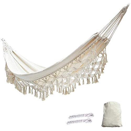 ZYEZI Tassel Double Hammock, Portable White Canvas Lace Hammock Chair, Travel Camping Beach Indoor Outdoor Hammock