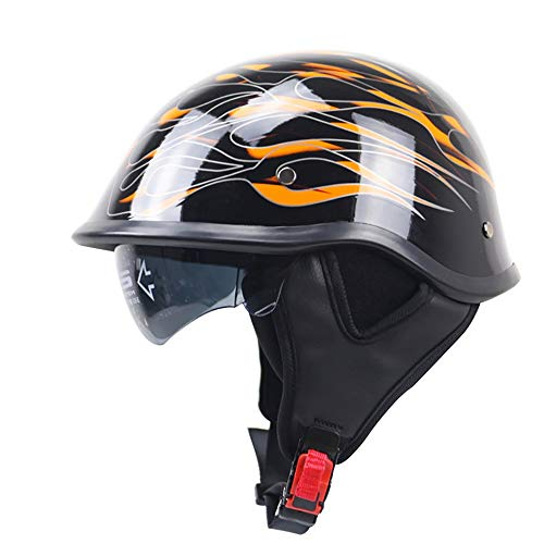 Casco De La Bicicleta del Coche De La Motocicleta Negro/Naranja Piel De...