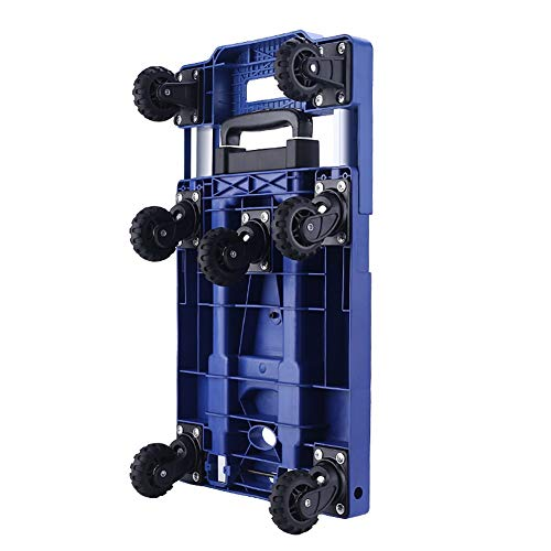 Beauty Salon Cart Trolley Home Folding Hand Truck Trolley Cart for Luggage, 150kg (331lbs) Capacity Trolley Platform Cart with 5-360° Rotating Wheel (Color : Black)