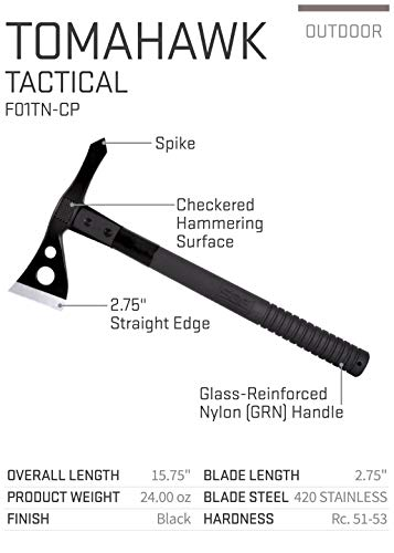 SOG Tactical Tomahawks  - Throwing Hatchet, Throwing Tomahawk, Survival Tactical Axe with Sheath and Emergency Breaching Tool with Spike (F01TN-CP),black