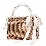 ORTUH Bolsa de playa para mujer, cesta de la compra, cesta de mimbre hecha a mano con asa, regalo maravilloso para amigas, madres, esposas para Navidad, cumpleaños