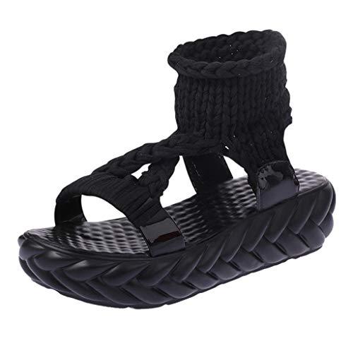 Deloito 2019 Sommer Damen Mode Plateau Schuhe Gestrickte Sandaletten Plattform Komfort Sandalen Freizeit Faule Schuhe Schwamm Kuchen kühl Sandalen (Schwarz-A,39 EU)