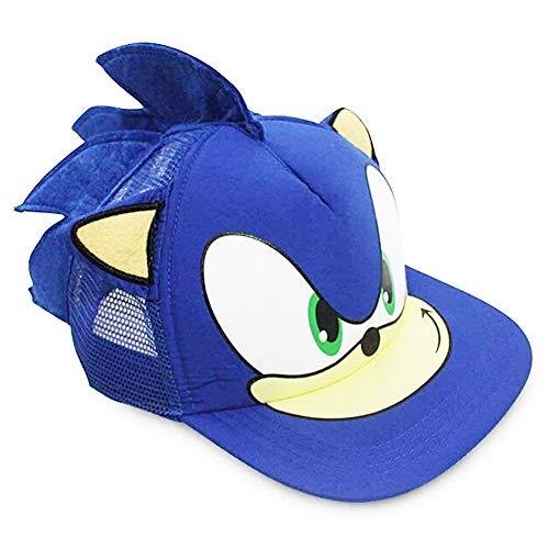 REYOK Sonic The Hedgehog Spiel Cosplay Baseball Hut mit Ohren, Sonic Baseballmütze für JungenKarikatur Sonic Mode Sonnenhut Jugend verstellbare Baseballmütze