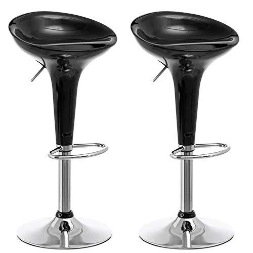 BAKAJI Set 2 Sgabelli Bar Cucina Design Moderno Base in Acciaio Cromato Seduta in ABS Sgabello Girevole con Altezza Regolabile e Poggiapiedi (Nero)
