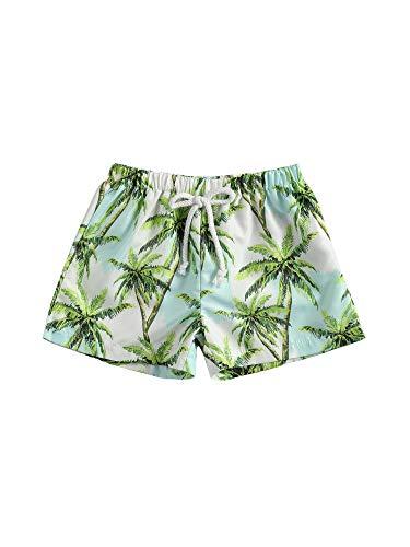 Pantalones Cortos de Natación para Niños Bebés Bermuda de Baño Verano Elástica Bañador de Natación con Estampado de Palmeras y Camuflaje Ropa de Playa para Chicos pequeños (Verde Claro, 4-5 Años)
