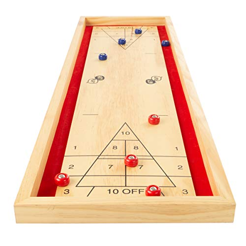 Hey! Play! Tabletop Shuffleboard Game - Portable Indoor Or Outdoor Compact Desktop Pinewood Competition Board Game for Kids & Adults