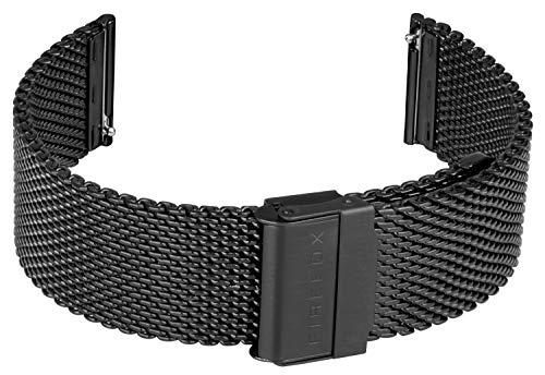FIREFOX Mesh Ersatz- Uhrenarmband Milanaise Edelstahl schwarz Breite 22mm MSB-01-C22 Schnellwechself