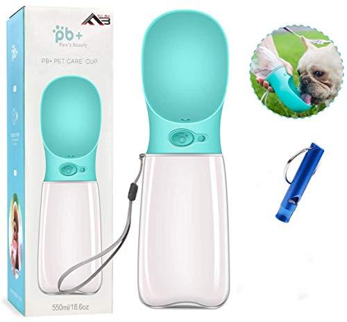 Flybiz Botella de Agua para Perro, 550ml Antibacteriano Botella Portátil de Agua Potable para Perros y Gatos al Aire Libre, a Prueba de Fugas, Resina Plástica ABS Ambiental, Libre de BPA