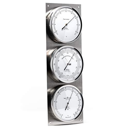 Fischer 829-01 - Außenwetterwarte - Edelstahl-Wetterstation mit Thermometer, Barometer, Haar-Hygrometer Made in Germany