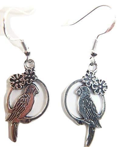 Royal Swan Tibetisches Silber Papagei auf einer Schaukel Ohrringe auf Sterling Silber Haken Gratis Organza Geschenkbeutel Wicca Hindu Buddhistische
