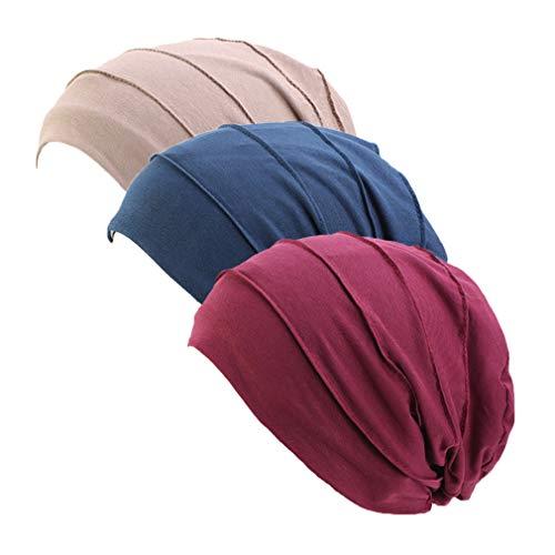 Ever Fairy 3 Stück Chemo Cancer Cotton Kopftuch Mütze Seide gefütterte Mütze Ethnic Cloth Turban Cap für Frauen (red+Navy+Khaki)
