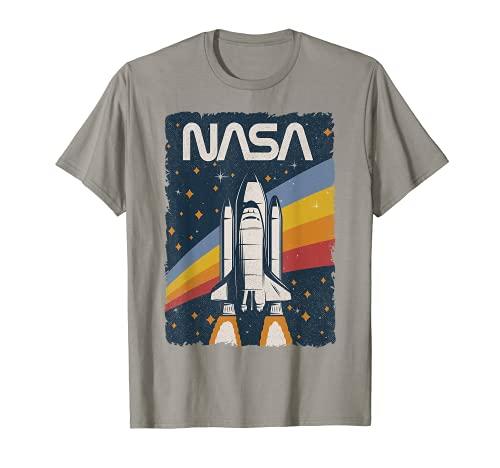 Vintage NASA Space Shuttle Poster Rocket Lanzamiento Retro 80s Camiseta