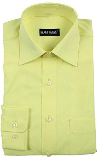 bruno banani Hemd mit Brusttasche Oberhemd Herrenhemd Pastell Gelb Regular fit (41/42)