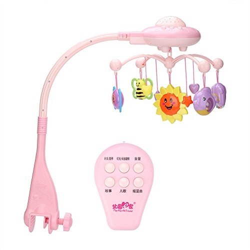 Fdit Baby wieg mobiele muzikale knipperende bed bel speelgoed dier rammelaars hand Ring ster roterende beugel projecteren pasgeboren
