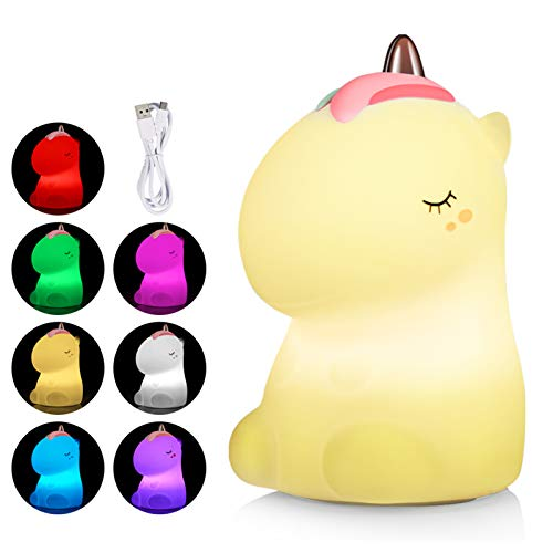 Litake Nachtlicht Kinder, USB Wiederaufladbar Baby Nachtlichter Nachttischlampe Weiches Silikon Nettes Kinderzimmer Warmweiß- und 7-Farben-Atemmodi für Kinder, Babys