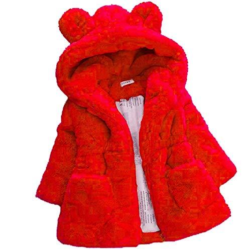 1 – 7 anos de inverno casaco de pele sintética para meninas 2020 novo casaco de lã quente para concursos de beleza, casaco de neve com capuz para bebês roupas infantis, Vermelho, 5