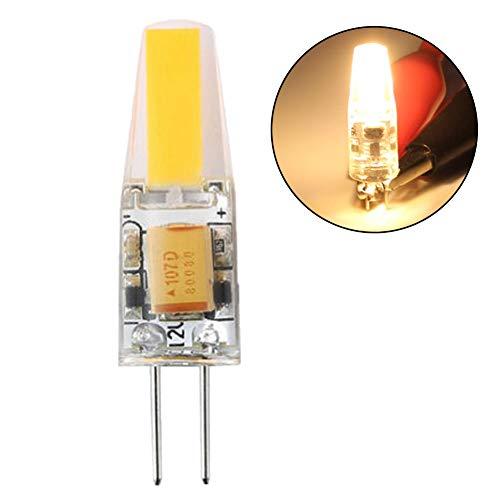 P12cheng - Bombilla LED de silicona brillante para el hogar (12 V, 6 W, G4, COB), color blanco, Warm White, G4, 6.0W 12.0V