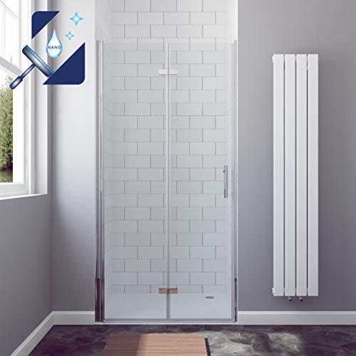 AQUABATOS® Duschtür Faltbar 90 x 195 cm Nischentür Falttür Duschabtrennung Duschwand Glas aus 6mm Sicherheitsglas (ESG) mit Lotus-Effekt Nanobeschichtung