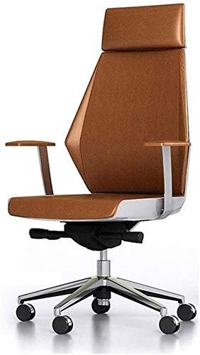 LQ Oficina de reclinación Ejecutivo Silla giratoria de malla, Ocio Oficina Silla moderna en el centro posterior Soporte cuero genuino blanco de alta ajustable ergonómico reclinable Diseño Sill
