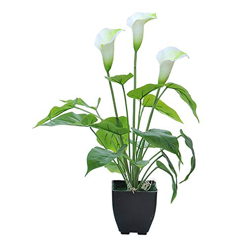 Artificial Flowers,Artificial Plants Outdoor Plastic Flowers Fake Calla Lily Faux Plant UV Resistant Greenery for Garden Home Decor White