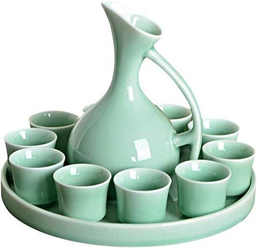 ZTMN 12 Pieces Japanese Porcelain Sake Set, Ceramic Sake Service, Wine Set Include1 Wine Bottle, 10 Wine Cup with Tray, for Cold/Warm/Shochu/Tea, Glaze