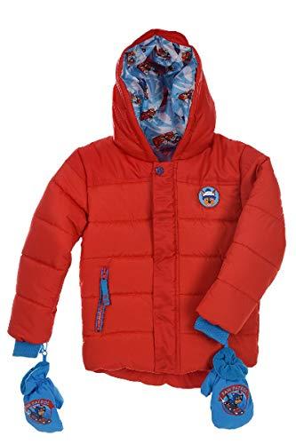 Paw-Patrol Chase Kinder Winterjacke Rot mit Blauen Handschuhen Fäustlinge, Größe:104 (4 A)