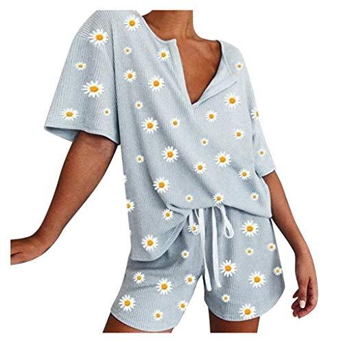 KIMODO Pyjama Shorts Anzug Damen Tanktop Bluse Ärmellose Blusentop Oberteile Hose mit Weitem Casual T-Shirts Tunika Tops Mode (Himmelblau, S)