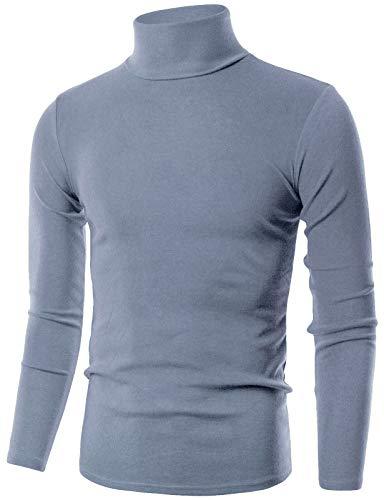 OHOO Mens Slim Fit Flice Long Sleeve Pullover Flice Turtleneck /DCT005-LAVENDER-L
