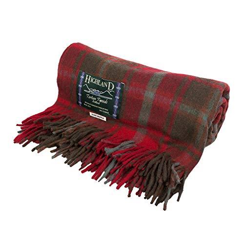 Highland Scottish Wool Blend Tartan Tweed Extra Warm Blanket - DARK MAPLE - One Size